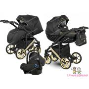 Camarelo Maggio 3-1 MgEco-11 (eko-āda melna / zelta) bērnu universālie rati